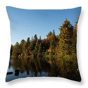 Autumn Lake In The Forest - Reflection Tranquility Throw Pillow