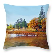 Autumn Lake In The Woods Throw Pillow