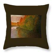 Autumn Lake View  Throw Pillow
