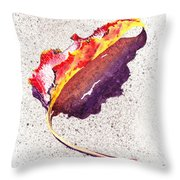 Autumn Leaf On Fire Throw Pillow