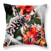 Autumn Leaves And Pinecone Background Throw Pillow