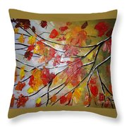 Autumn Leaves Throw Pillow by Elena  Constantinescu