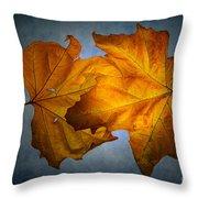 Autumn Leaves On Blue Throw Pillow