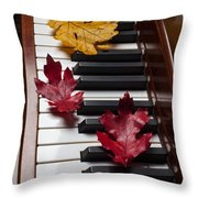 Autumn Leaves On Piano Throw Pillow by Garry Gay