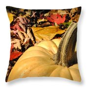 Autumn Leaves With Pumpkin Throw Pillow
