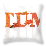 Autumn Letters With Leaves Throw Pillow
