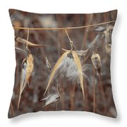 Autumn Milkweed Throw Pillow