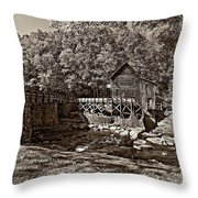 Autumn Mill Sepia Throw Pillow