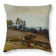 Autumn Mood, 1980 Wc On Paper Throw Pillow
