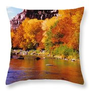 Autumn Oak Creek  Throw Pillow