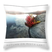 Autumn On Misty Lake Poster Throw Pillow