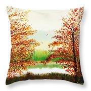 Autumn On The Ema River Estonia Throw Pillow