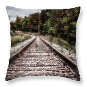 Autumn On The Railroad Tracks Throw Pillow