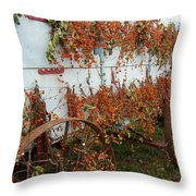 Autumn On The Wagon Throw Pillow