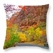 Autumn On Zion Canyon Scenic Drive In Zion National Park-utah  Throw Pillow