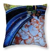 Autumn Park Benches Throw Pillow