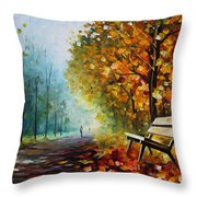 Autumn Park - Palette Knife Oil Painting On Canvas By Leonid Afremov Throw Pillow
