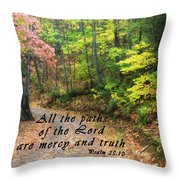 Autumn Path With Scripture Throw Pillow