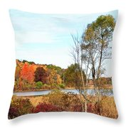 Mendon Ponds In Autumn Throw Pillow