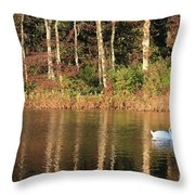 Autumn Pond Sunset With Swan Throw Pillow