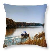 Autumn Pontoon Boating Argyle Lake Throw Pillow