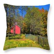 Autumn Red Barn Throw Pillow by Joann Vitali