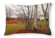 Autumn Red Field Maine  Throw Pillow