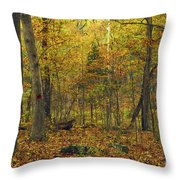 Autumn Red Was Blood Red Throw Pillow