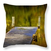 Autumn Reflections And Boat Dock On A Pond Near Yankee Springs Michigan Throw Pillow