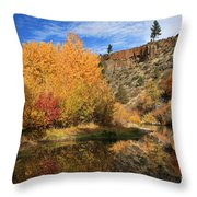Autumn Reflections In The Susan River Canyon Throw Pillow