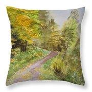 Autumn Riverside Walk Version1 Throw Pillow