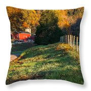 Autumn Road Morning Throw Pillow