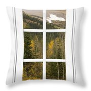 Autumn Rocky Mountain Glacier View Through A White Window Frame  Throw Pillow