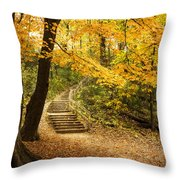 Autumn Stairs Throw Pillow