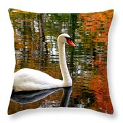 Autumn Swan Throw Pillow