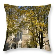 Autumn Trees In A Park Riga Latvia Throw Pillow