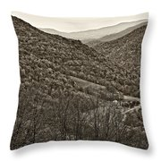 Autumn Valley Sepia Throw Pillow