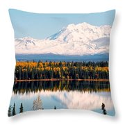 Autumn View Of Mt. Drum - Alaska Throw Pillow