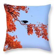 Autumn View Through Red Leaves Throw Pillow