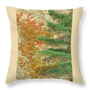 Autumn Vine And Evergreen Throw Pillow