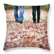 Autumn Walk In The Woods Throw Pillow