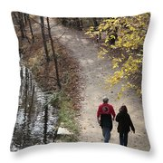 Autumn Walk On The C And O Canal Towpath Throw Pillow