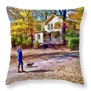 Autumn - Walking The Dog Throw Pillow