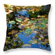 Autumn Water Lily Reflections  Throw Pillow