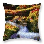 Autumn Waterfall Canvas Throw Pillow