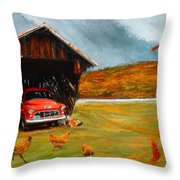 Autumnal Restful View-farm Scene Paintings Throw Pillow