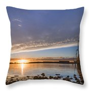 Autumnal Sunset At Del Norte Pier Throw Pillow