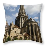 Autun Cathedral View Burgundy Throw Pillow