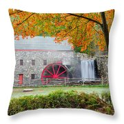 Auutmn At The Grist Mill Throw Pillow by Michael Blanchette