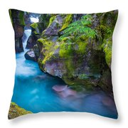 Avalanche Creek Gorge Throw Pillow